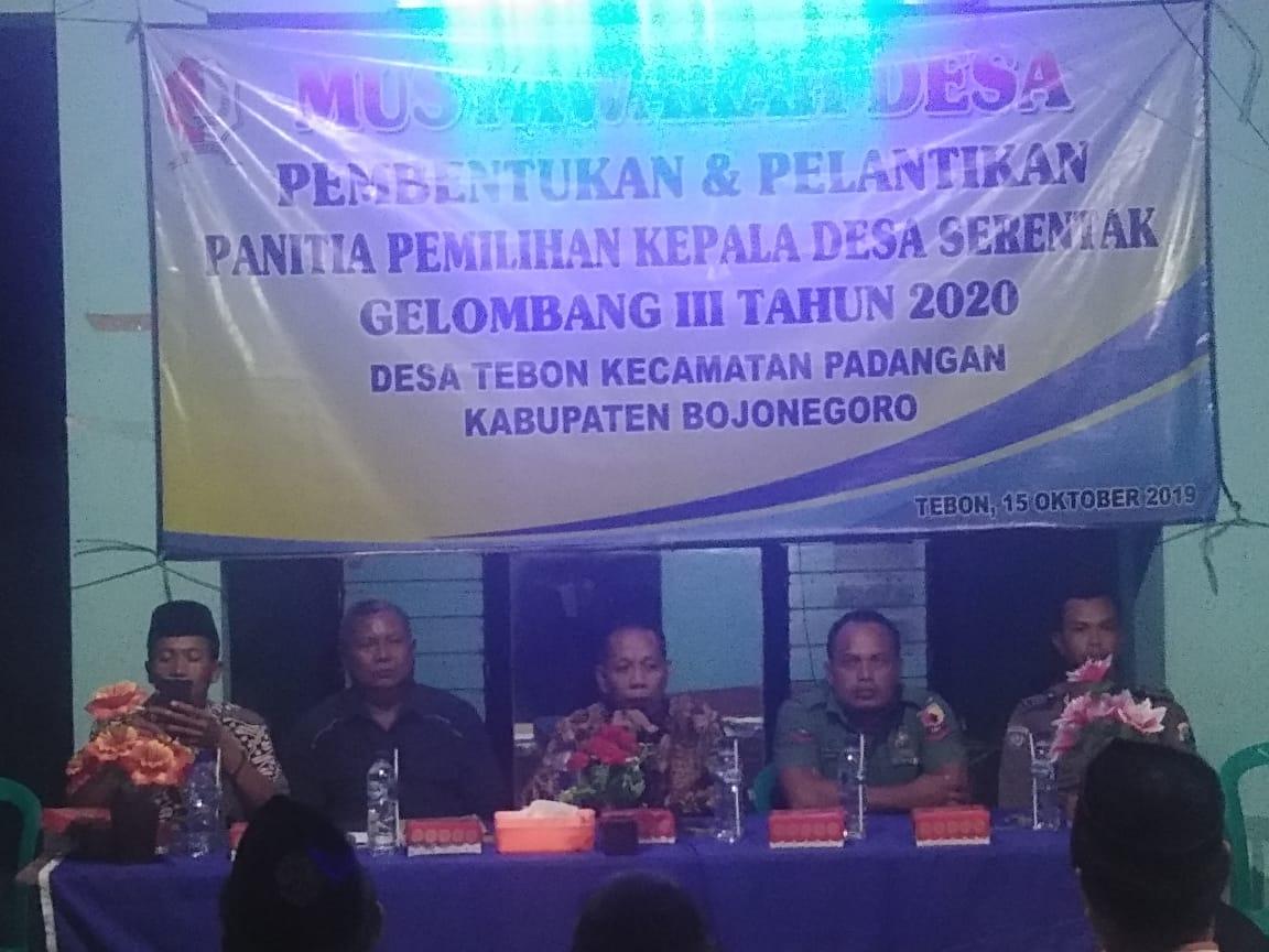 Musyawarah Pembentukan dan Pelantikan Panitia Pemilihan Kepala Desa<BR>Desa Tebon Kecamatan Padangan